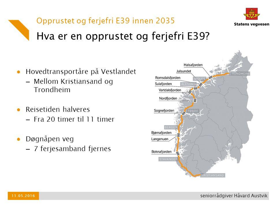 ● Hovedtransportåre på Vestlandet – Mellom Kristiansand og Trondheim ● Reisetiden halveres – Fra 20 timer til 11 timer ● Døgnåpen veg – 7 ferjesamband