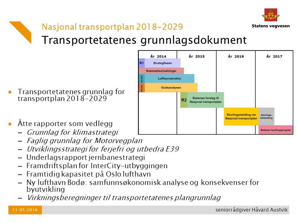 Transportetatenes grunnlagsdokument ● Transportetatenes grunnlag for Nasjonal transportplan 2018-2029 ● Åtte rapporter som vedlegg – Grunnlag for klim