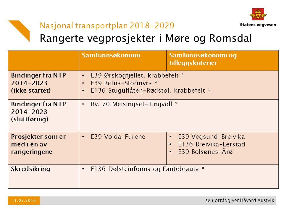 Rangerte vegprosjekter i Møre og Romsdal Nasjonal transportplan 2018-2029 11.05.2016 seniorrådgiver Håvard Austvik SamfunnsøkonomiSamfunnsøkonomi og tilleggskriterier Bindinger fra NTP 2014-2023 (ikke startet) E39 Ørskogfjellet, krabbefelt * E39 Betna-Stormyra * E136 Stuguflåten-Rødstøl, krabbefelt * Bindinger fra NTP 2014-2023 (sluttføring) Rv.