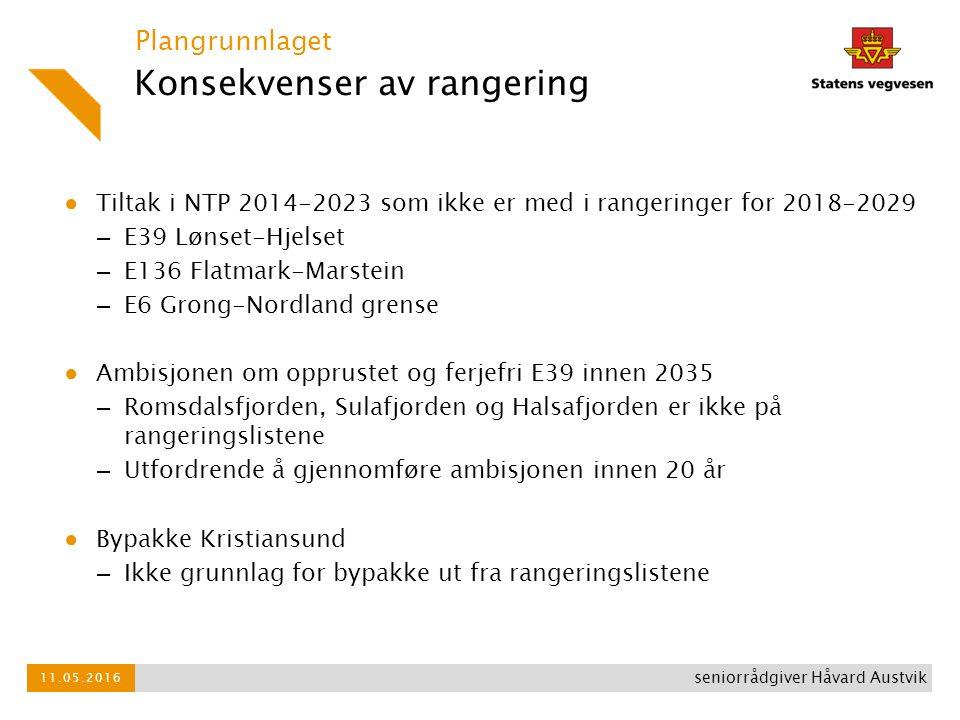 Konsekvenser av rangering ● Tiltak i NTP 2014-2023 som ikke er med i rangeringer for 2018-2029 – E39 Lønset-Hjelset – E136 Flatmark-Marstein – E6 Grong-Nordland grense ● Ambisjonen om opprustet og ferjefri E39 innen 2035 – Romsdalsfjorden, Sulafjorden og Halsafjorden er ikke på rangeringslistene – Utfordrende å gjennomføre ambisjonen innen 20 år ● Bypakke Kristiansund – Ikke grunnlag for bypakke ut fra rangeringslistene Plangrunnlaget 11.05.2016 seniorrådgiver Håvard Austvik