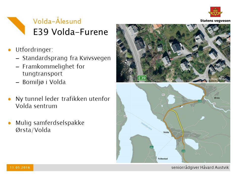 E39 Volda-Furene ● Utfordringer: – Standardsprang fra Kvivsvegen – Framkommelighet for tungtransport – Bomiljø i Volda ● Ny tunnel leder trafikken ute