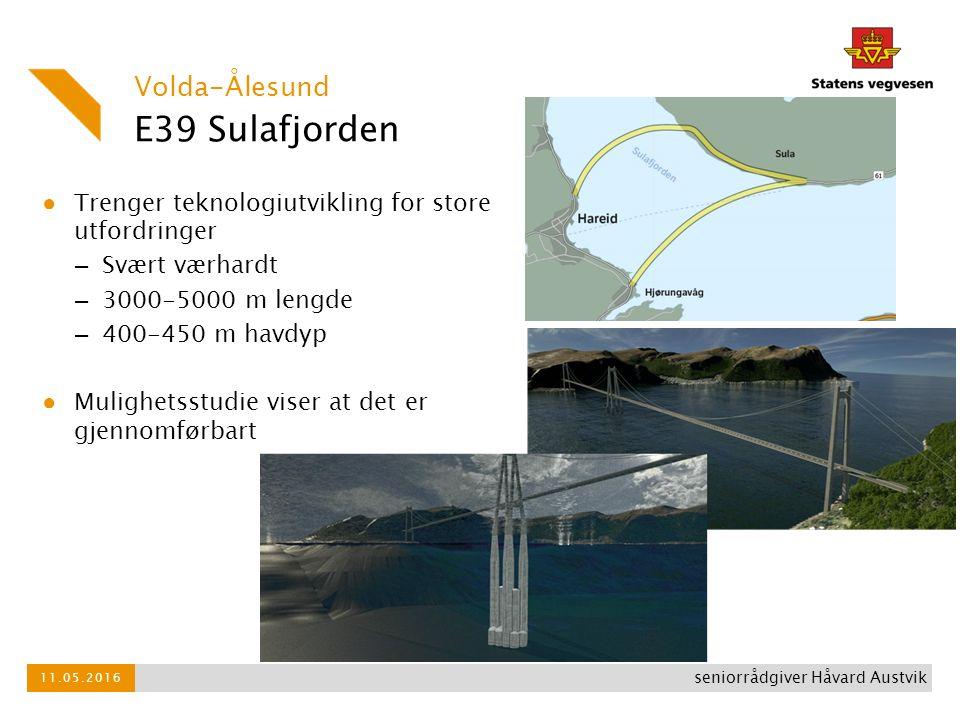 E39 Sulafjorden ● Trenger teknologiutvikling for store utfordringer – Svært værhardt – 3000-5000 m lengde – 400-450 m havdyp ● Mulighetsstudie viser a