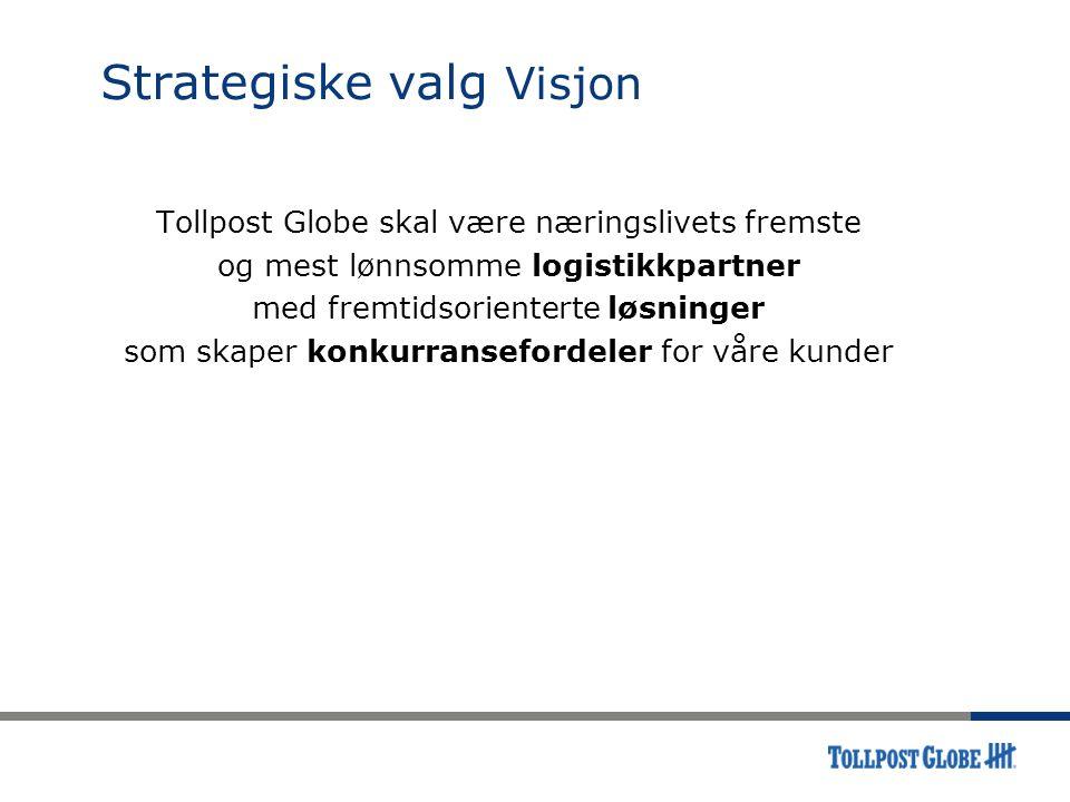Strategiske valg Visjon Tollpost Globe skal være næringslivets fremste og mest lønnsomme logistikkpartner med fremtidsorienterte løsninger som skaper konkurransefordeler for våre kunder
