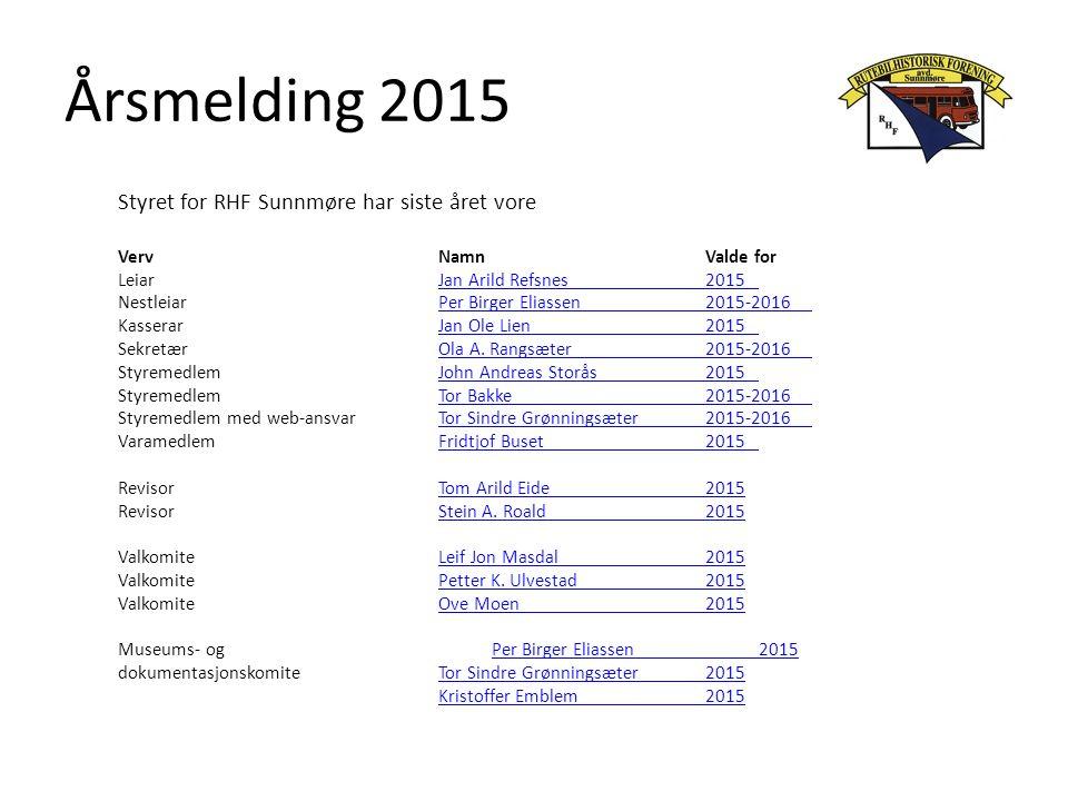 Årsmelding 2015 Styret for RHF Sunnmøre har siste året vore VervNamnValde for LeiarJan Arild Refsnes2015Jan Arild Refsnes2015 NestleiarPer Birger Eliassen2015-2016Per Birger Eliassen2015-2016 KasserarJan Ole Lien2015Jan Ole Lien2015 SekretærOla A.