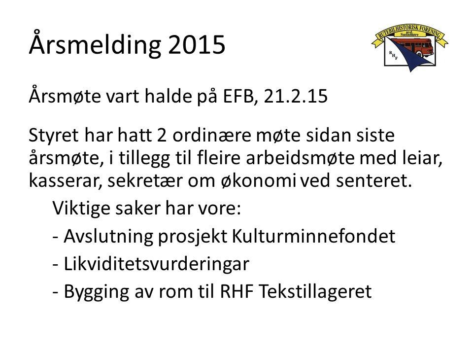 Årsmelding 2015 Årsmøte vart halde på EFB, 21.2.15 Styret har hatt 2 ordinære møte sidan siste årsmøte, i tillegg til fleire arbeidsmøte med leiar, kasserar, sekretær om økonomi ved senteret.