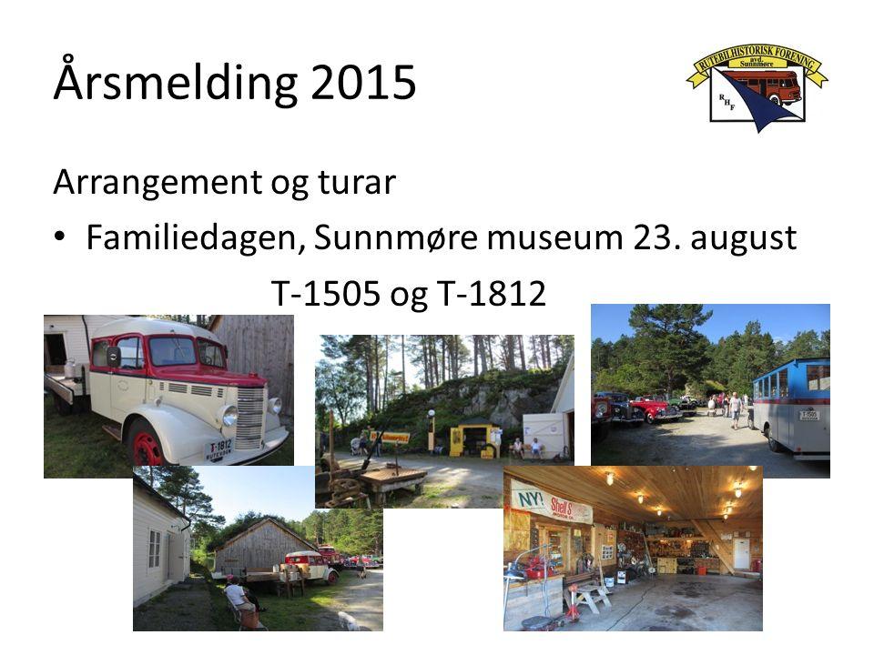 Årsmelding 2015 Arrangement og turar Familiedagen, Sunnmøre museum 23. august T-1505 og T-1812
