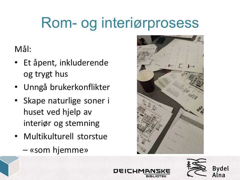 Rom- og interiørprosess Mål: Et åpent, inkluderende og trygt hus Unngå brukerkonflikter Skape naturlige soner i huset ved hjelp av interiør og stemnin