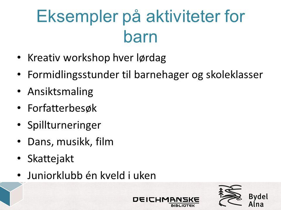 Eksempler på aktiviteter for barn Kreativ workshop hver lørdag Formidlingsstunder til barnehager og skoleklasser Ansiktsmaling Forfatterbesøk Spilltur