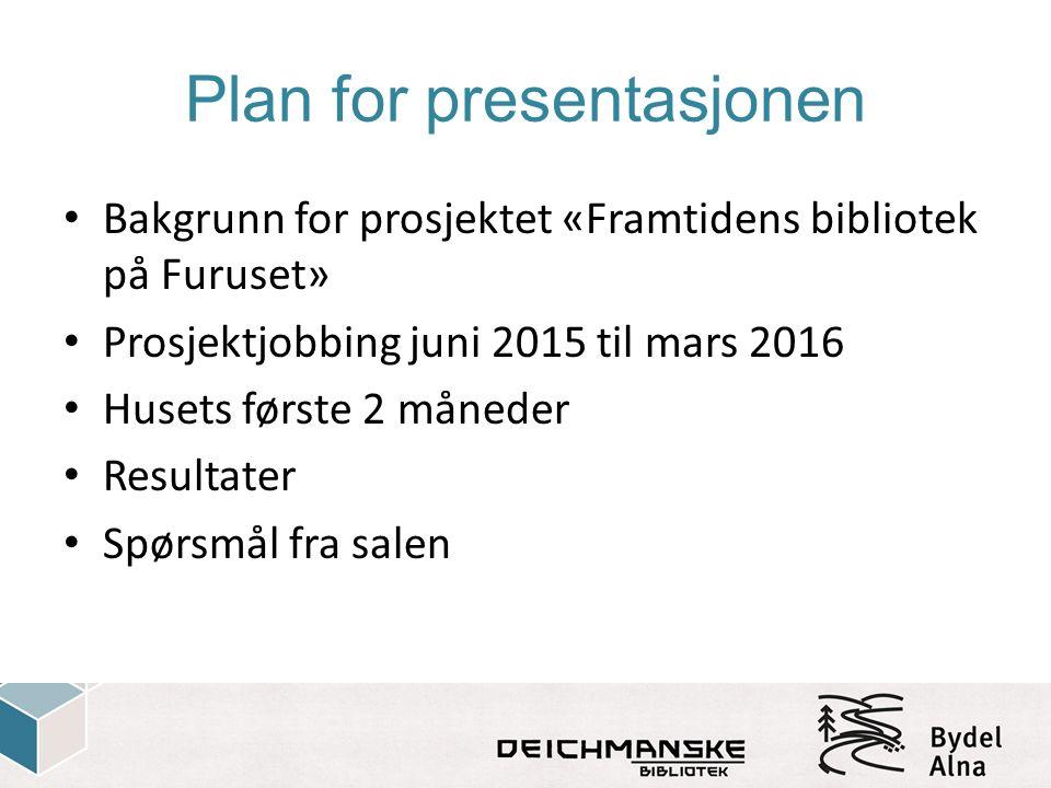 Plan for presentasjonen Bakgrunn for prosjektet «Framtidens bibliotek på Furuset» Prosjektjobbing juni 2015 til mars 2016 Husets første 2 måneder Resu