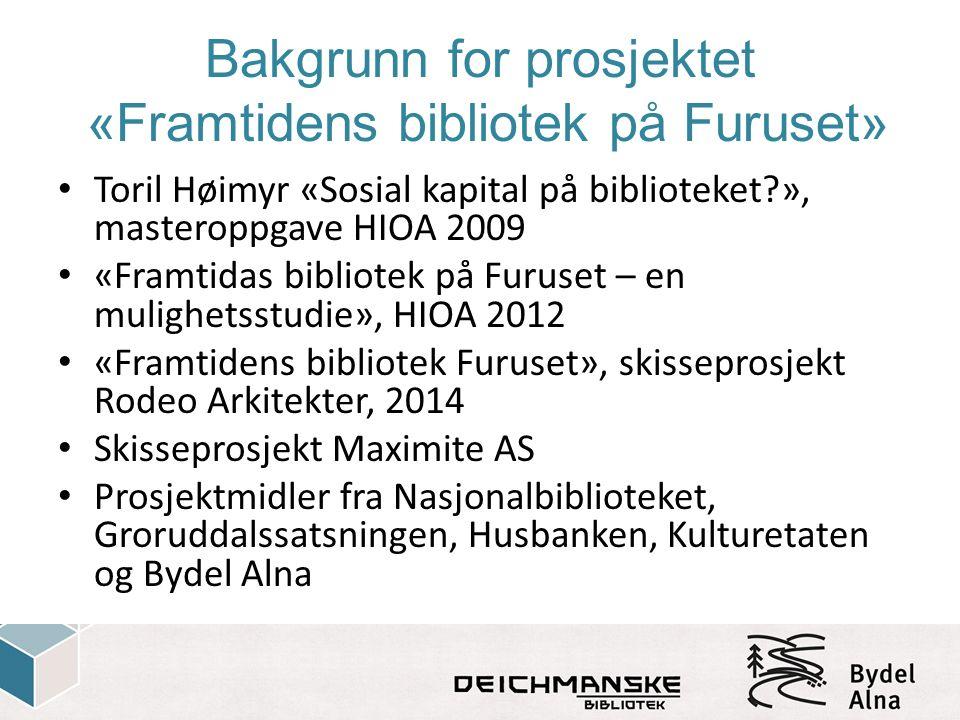 Bakgrunn for prosjektet «Framtidens bibliotek på Furuset» Toril Høimyr «Sosial kapital på biblioteket?», masteroppgave HIOA 2009 «Framtidas bibliotek