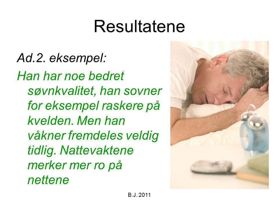 Resultatene Ad.2. eksempel: Han har noe bedret søvnkvalitet, han sovner for eksempel raskere på kvelden. Men han våkner fremdeles veldig tidlig. Natte