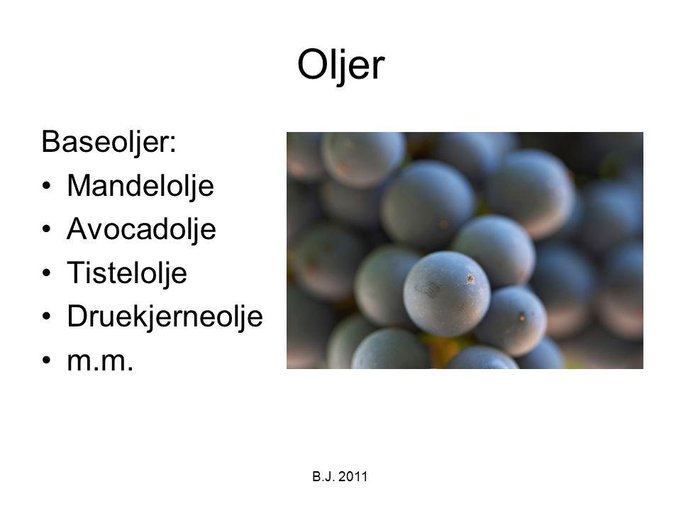 Oljer Baseoljer: Mandelolje Avocadolje Tistelolje Druekjerneolje m.m. B.J. 2011