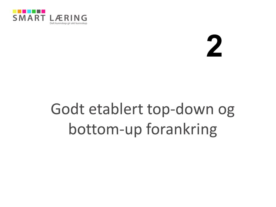 Godt etablert top-down og bottom-up forankring 2