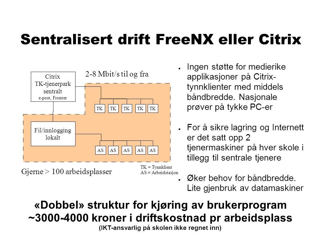 Sentralisert drift FreeNX eller Citrix ● Ingen støtte for medierike applikasjoner på Citrix- tynnklienter med middels båndbredde.