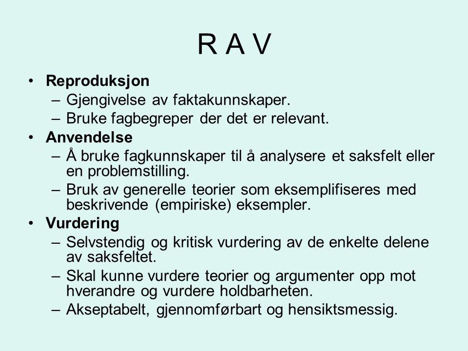 R A V Reproduksjon –Gjengivelse av faktakunnskaper.