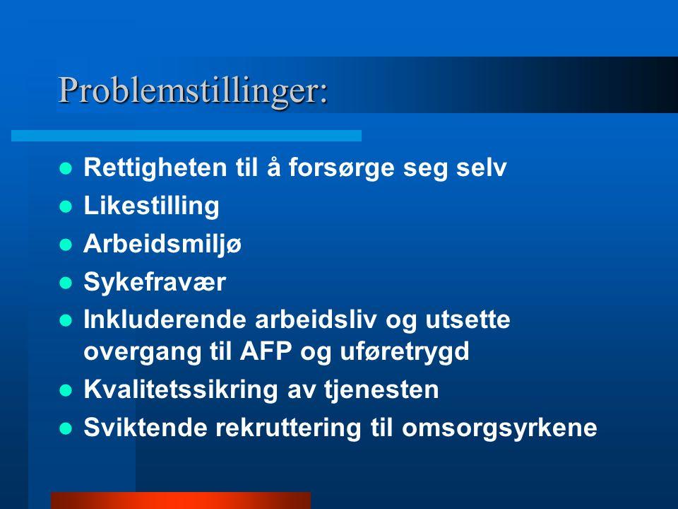 Problemstillinger: Rettigheten til å forsørge seg selv Likestilling Arbeidsmiljø Sykefravær Inkluderende arbeidsliv og utsette overgang til AFP og uføretrygd Kvalitetssikring av tjenesten Sviktende rekruttering til omsorgsyrkene