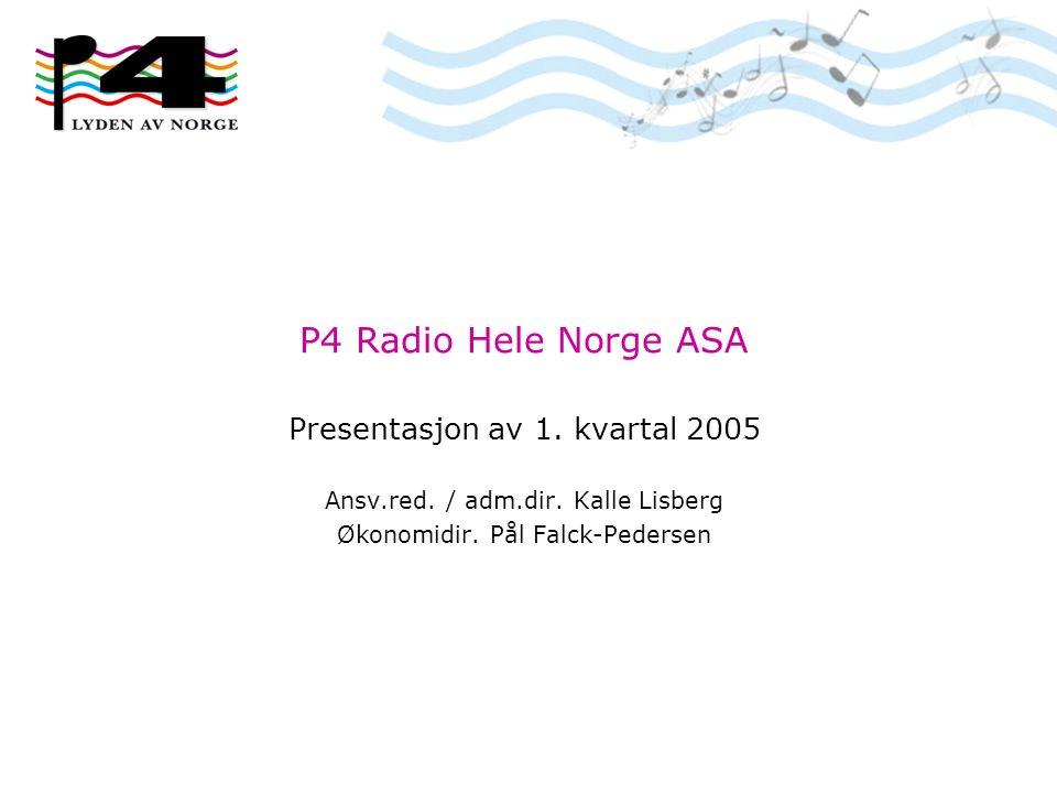 P4 Radio Hele Norge ASA Presentasjon av 1. kvartal 2005 Ansv.red. / adm.dir. Kalle Lisberg Økonomidir. Pål Falck-Pedersen