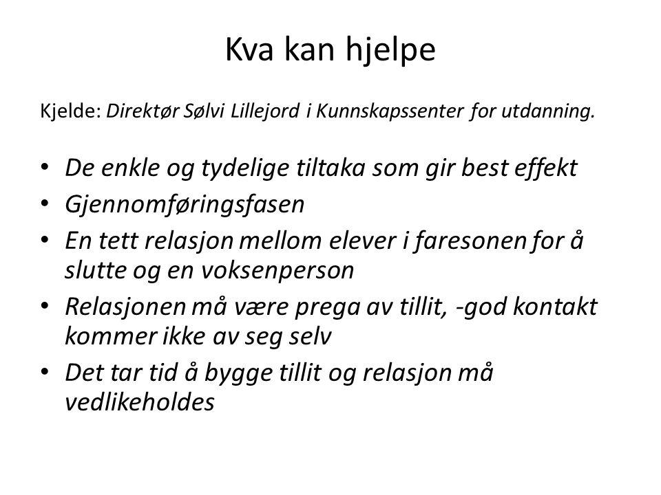 Kva kan hjelpe Kjelde: Direktør Sølvi Lillejord i Kunnskapssenter for utdanning.