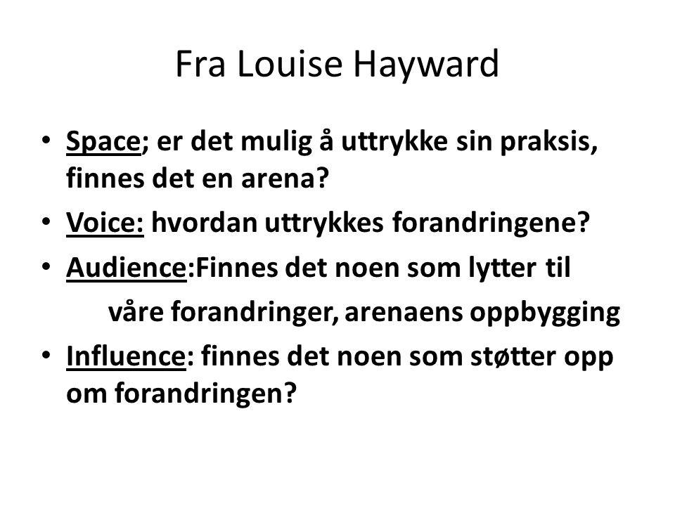 Fra Louise Hayward Space; er det mulig å uttrykke sin praksis, finnes det en arena.