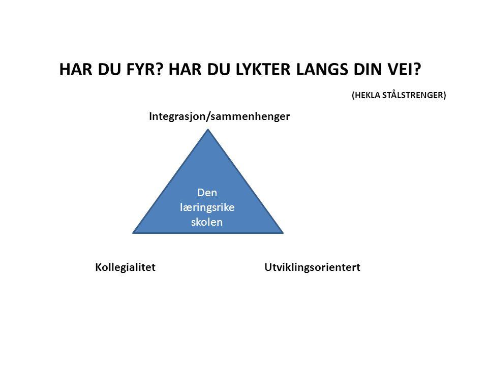 Den læringsrike skolen Integrasjon/sammenhenger KollegialitetUtviklingsorientert HAR DU FYR.
