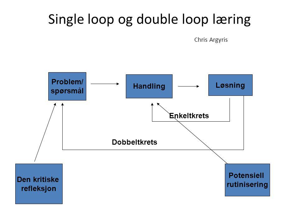 Single loop og double loop læring Chris Argyris Problem/ spørsmål Handling Løsning Enkeltkrets Dobbeltkrets Den kritiske refleksjon Potensiell rutinisering