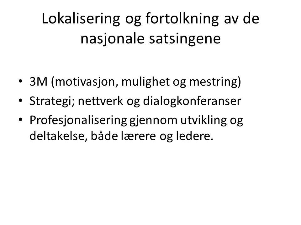 Lokalisering og fortolkning av de nasjonale satsingene 3M (motivasjon, mulighet og mestring) Strategi; nettverk og dialogkonferanser Profesjonalisering gjennom utvikling og deltakelse, både lærere og ledere.