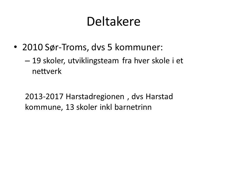 Deltakere 2010 Sør-Troms, dvs 5 kommuner: – 19 skoler, utviklingsteam fra hver skole i et nettverk 2013-2017 Harstadregionen, dvs Harstad kommune, 13 skoler inkl barnetrinn