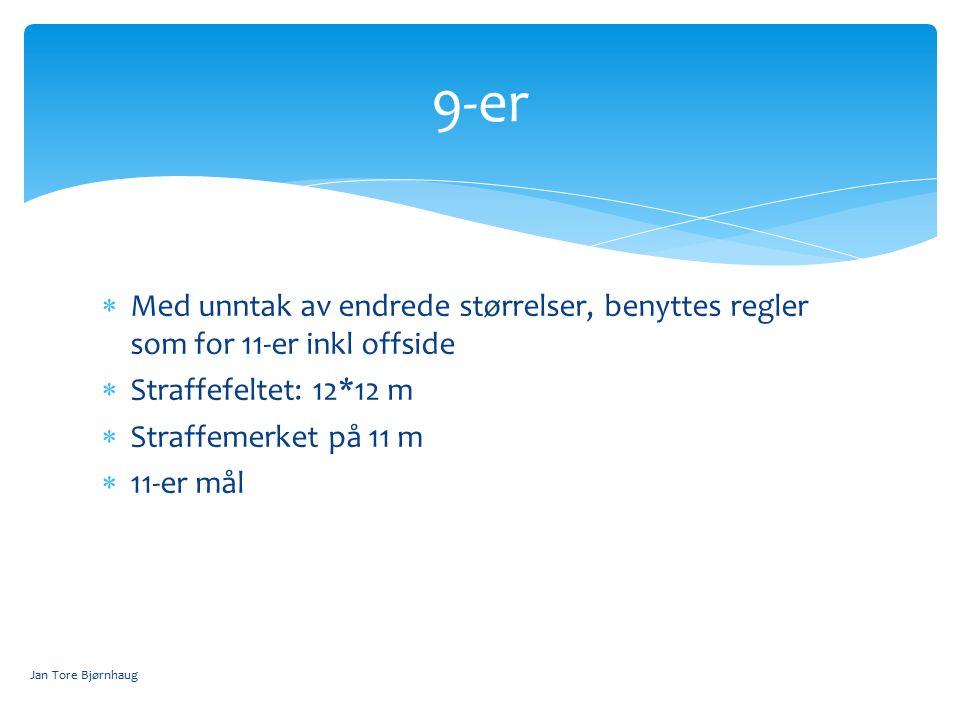  Med unntak av endrede størrelser, benyttes regler som for 11-er inkl offside  Straffefeltet: 12*12 m  Straffemerket på 11 m  11-er mål 9-er Jan Tore Bjørnhaug