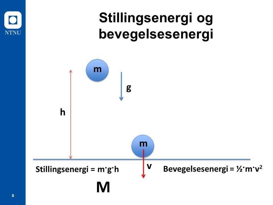 8 Stillingsenergi og bevegelsesenergi m h g Stillingsenergi = m·g·h m v Bevegelsesenergi = ½·m·v 2 M