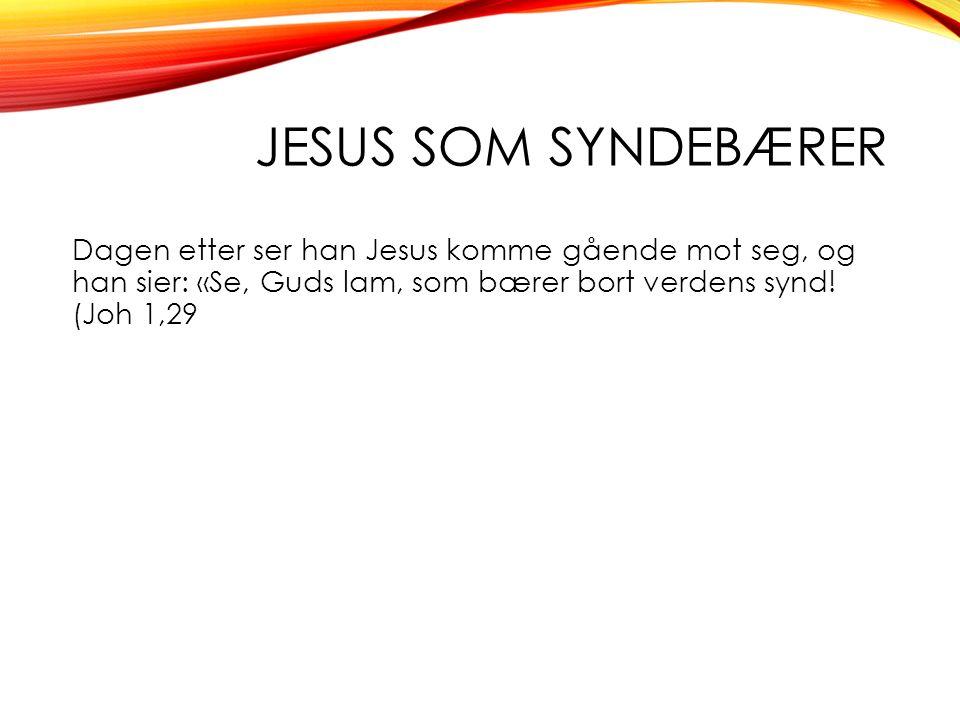 JESUS SOM SYNDEBÆRER Dagen etter ser han Jesus komme gående mot seg, og han sier: «Se, Guds lam, som bærer bort verdens synd.