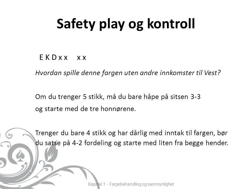 Safety play og kontroll Hvordan spille denne fargen uten andre innkomster til Vest.