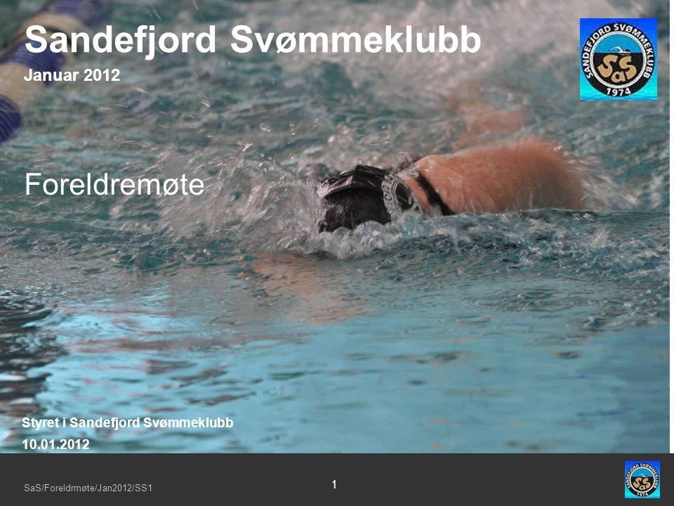 SaS/Foreldrmøte/Jan2012/SS1 1 Foreldremøte Styret i Sandefjord Svømmeklubb 10.01.2012 Sandefjord Svømmeklubb Januar 2012