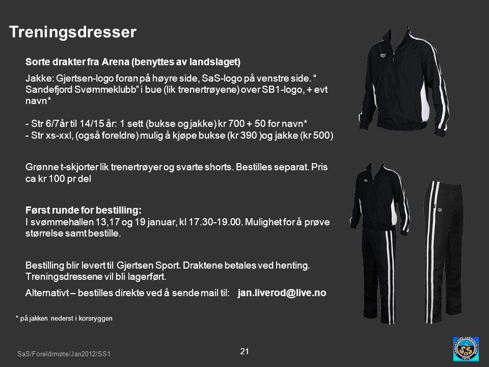 SaS/Foreldrmøte/Jan2012/SS1 21 Treningsdresser Sorte drakter fra Arena (benyttes av landslaget) Jakke: Gjertsen-logo foran på høyre side, SaS-logo på venstre side.
