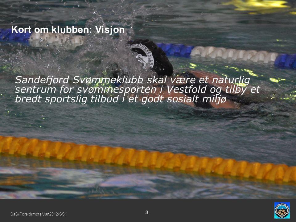 SaS/Foreldrmøte/Jan2012/SS1 3 Sandefjord Svømmeklubb skal være et naturlig sentrum for svømmesporten i Vestfold og tilby et bredt sportslig tilbud i et godt sosialt miljø Kort om klubben: Visjon