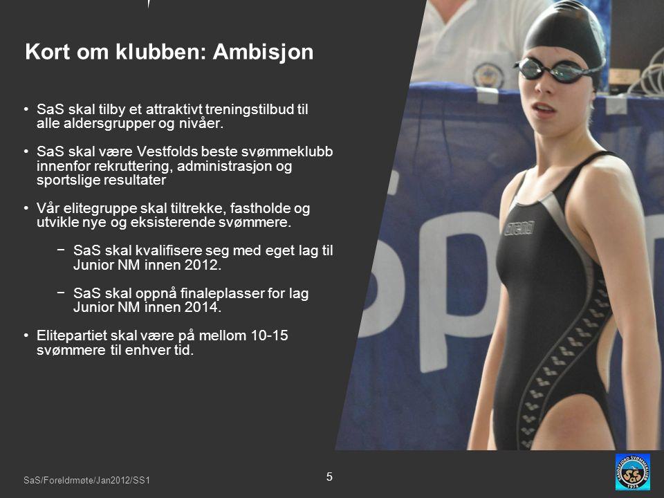 SaS/Foreldrmøte/Jan2012/SS1 5 SaS skal tilby et attraktivt treningstilbud til alle aldersgrupper og nivåer.