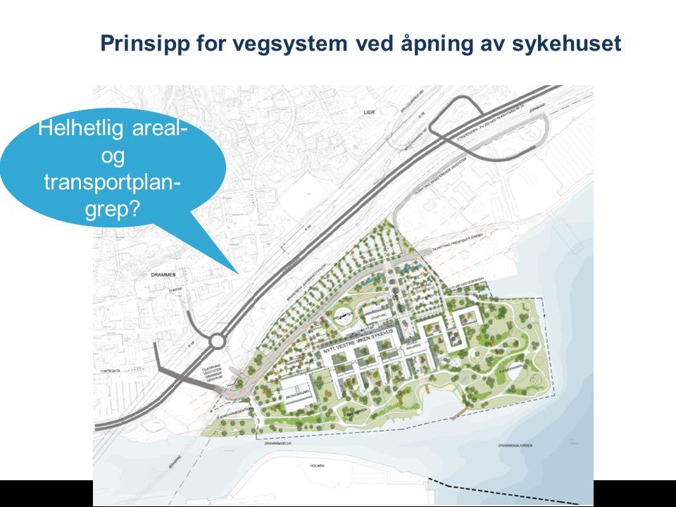 24 Prinsipp for vegsystem ved åpning av sykehuset Helhetlig areal- og transportplan- grep?