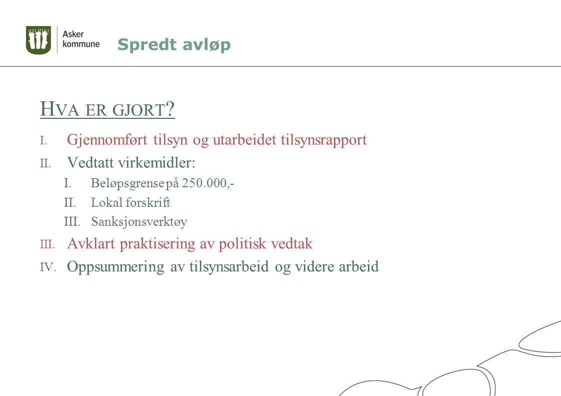 Spredt avløp H VA ER GJORT . I. Gjennomført tilsyn og utarbeidet tilsynsrapport II.