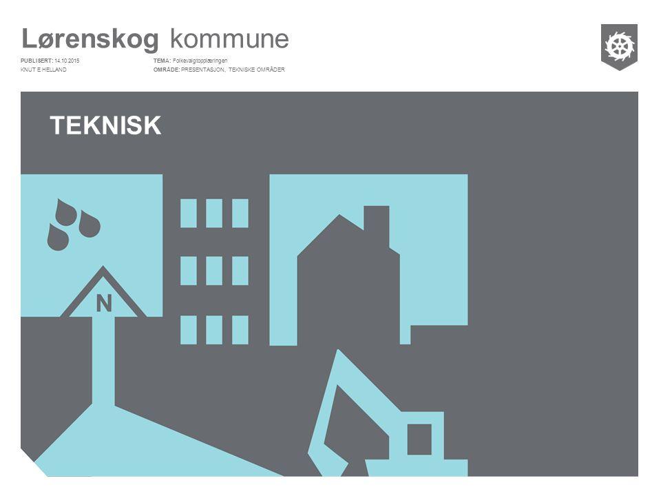 Lørenskog kommune PUBLISERT: OMRÅDE: TEMA: TEKNISK Folkevalgtopplæringen PRESENTASJON, TEKNISKE OMRÅDER 14.10.2015 KNUT E HELLAND