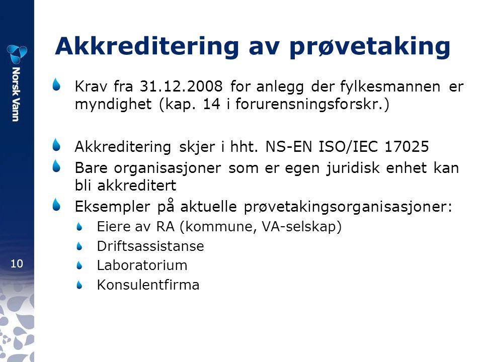 10 Akkreditering av prøvetaking Krav fra 31.12.2008 for anlegg der fylkesmannen er myndighet (kap.