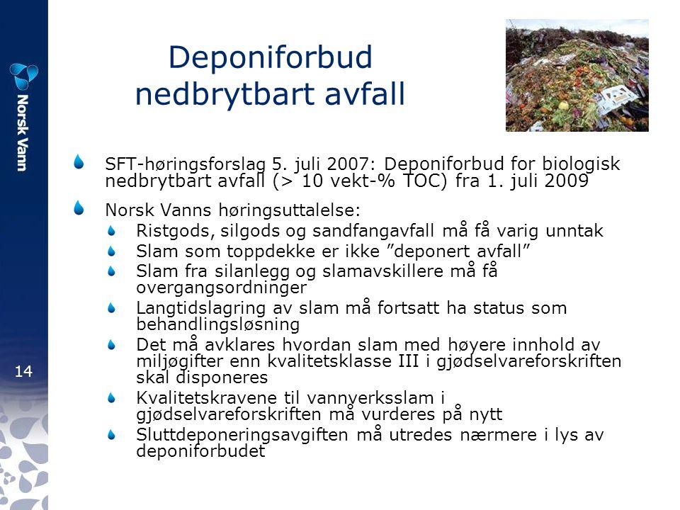 14 Deponiforbud nedbrytbart avfall SFT-høringsforslag 5.