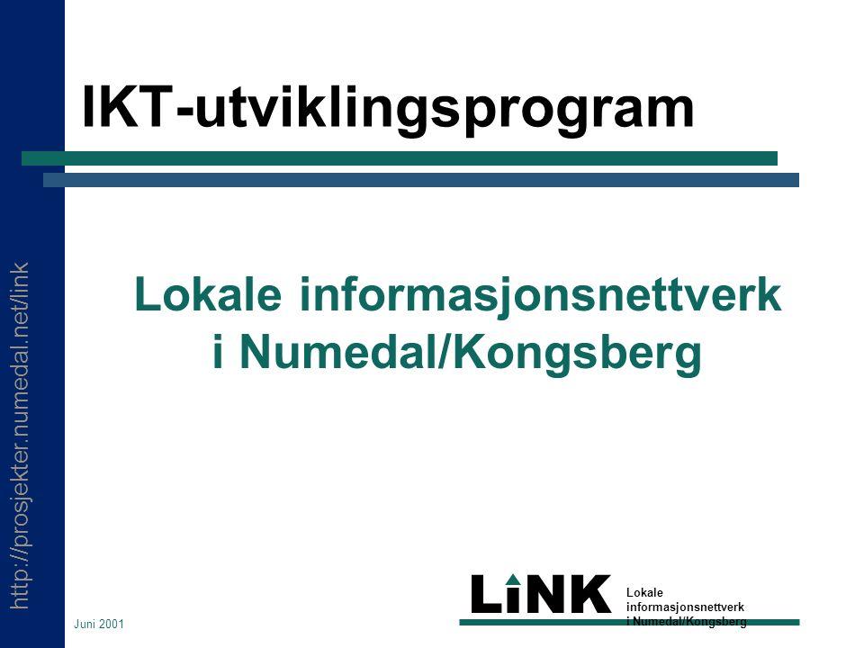 http://prosjekter.numedal.net/link LINK Lokale informasjonsnettverk i Numedal/Kongsberg Juni 2001 IKT-utviklingsprogram Lokale informasjonsnettverk i Numedal/Kongsberg