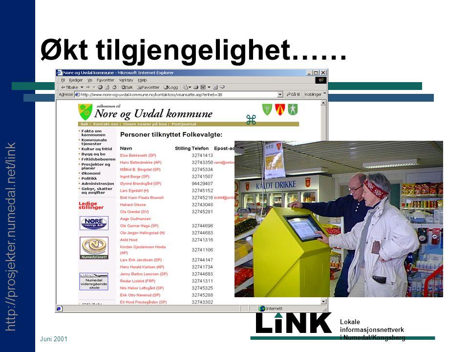 http://prosjekter.numedal.net/link LINK Lokale informasjonsnettverk i Numedal/Kongsberg Juni 2001 Økt tilgjengelighet…… 