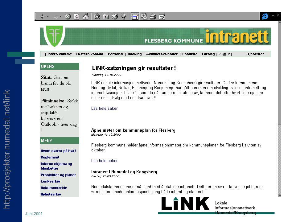 http://prosjekter.numedal.net/link LINK Lokale informasjonsnettverk i Numedal/Kongsberg Juni 2001