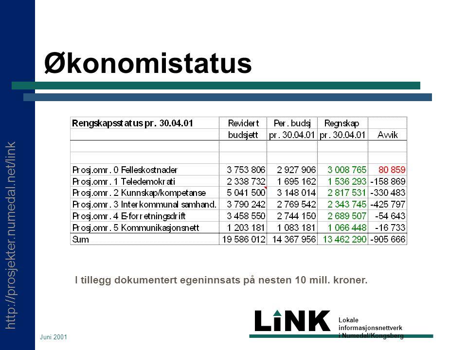 http://prosjekter.numedal.net/link LINK Lokale informasjonsnettverk i Numedal/Kongsberg Juni 2001 Økonomistatus I tillegg dokumentert egeninnsats på nesten 10 mill.