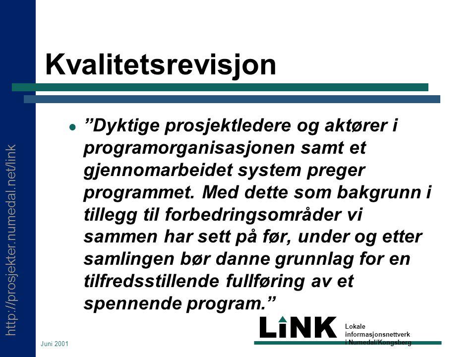 http://prosjekter.numedal.net/link LINK Lokale informasjonsnettverk i Numedal/Kongsberg Juni 2001 Kvalitetsrevisjon Dyktige prosjektledere og aktører i programorganisasjonen samt et gjennomarbeidet system preger programmet.