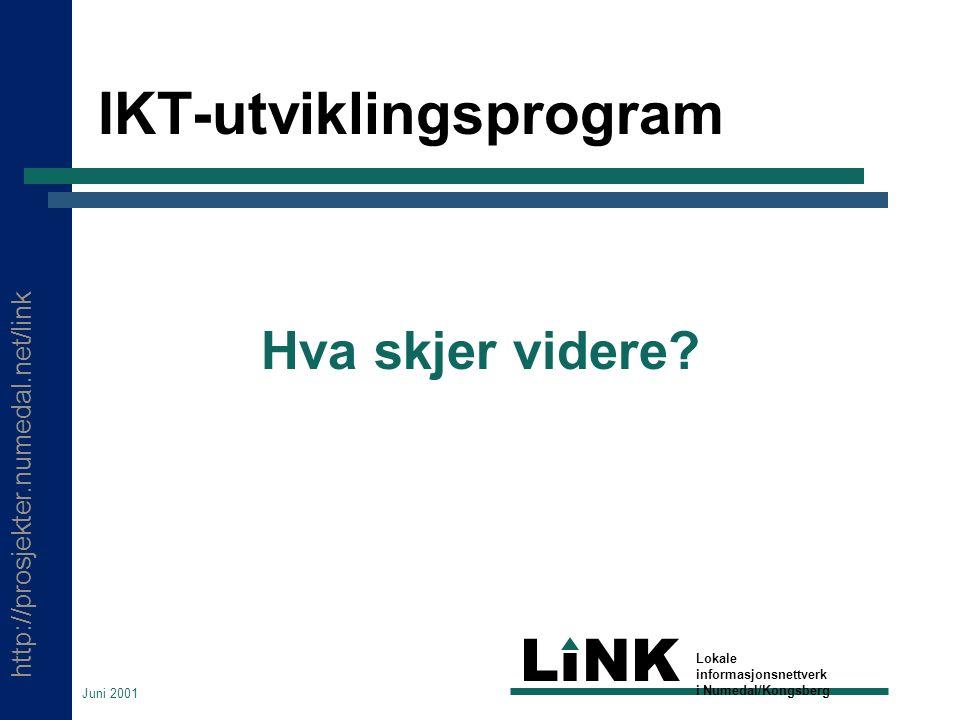 http://prosjekter.numedal.net/link LINK Lokale informasjonsnettverk i Numedal/Kongsberg Juni 2001 IKT-utviklingsprogram Hva skjer videre
