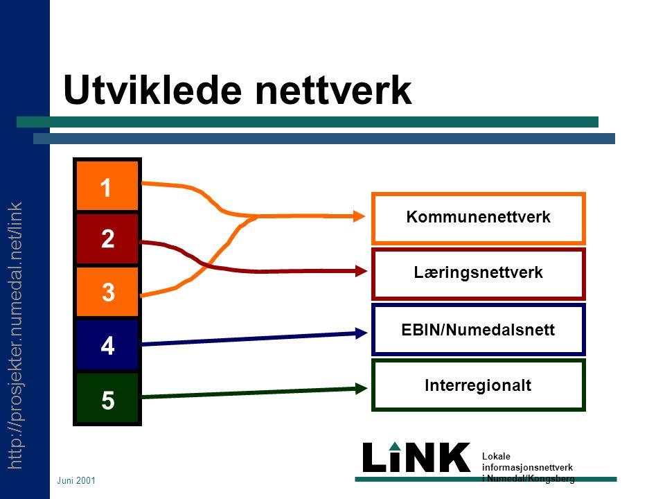 http://prosjekter.numedal.net/link LINK Lokale informasjonsnettverk i Numedal/Kongsberg Juni 2001 Utviklede nettverk Kommunenettverk Læringsnettverk EBIN/Numedalsnett Interregionalt 1 2 3 4 5