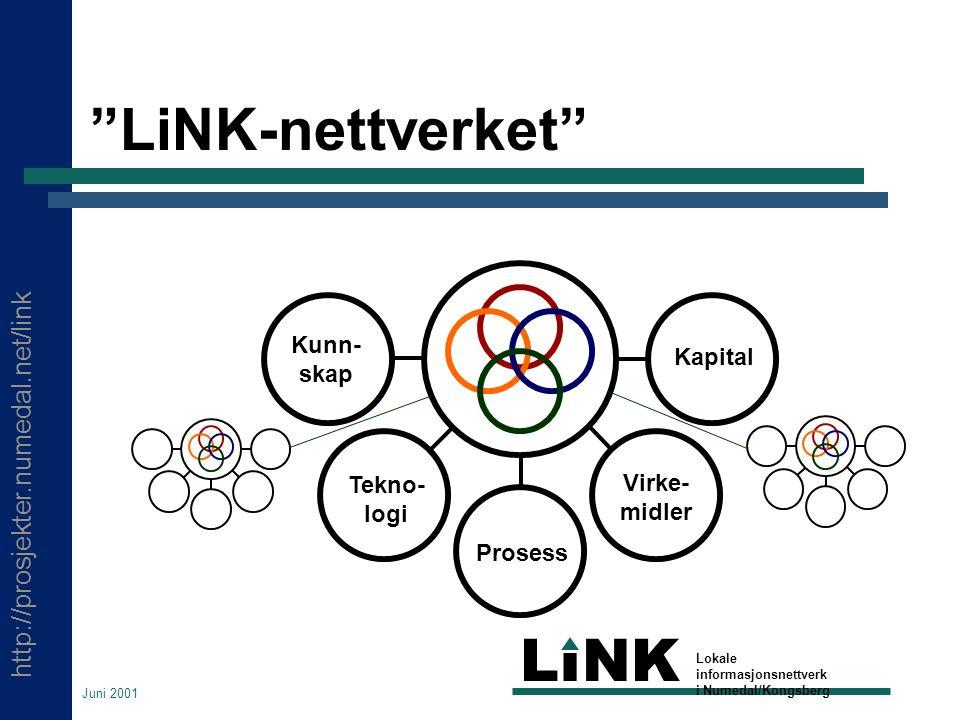 http://prosjekter.numedal.net/link LINK Lokale informasjonsnettverk i Numedal/Kongsberg Juni 2001 LiNK-nettverket Kunn- skap Tekno- logi Prosess Virke- midler Kapital