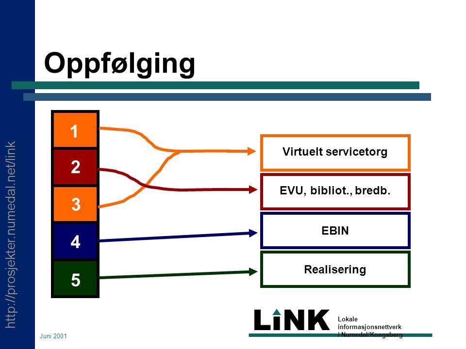 http://prosjekter.numedal.net/link LINK Lokale informasjonsnettverk i Numedal/Kongsberg Juni 2001 Oppfølging Virtuelt servicetorg EVU, bibliot., bredb.