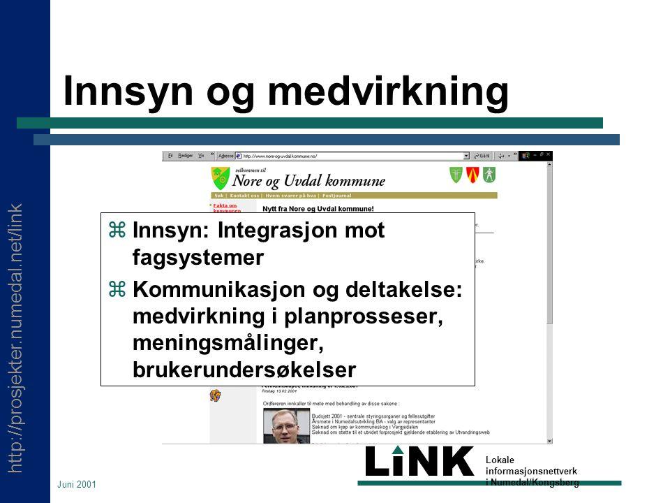 http://prosjekter.numedal.net/link LINK Lokale informasjonsnettverk i Numedal/Kongsberg Juni 2001 Innsyn og medvirkning  Innsyn: Integrasjon mot fagsystemer  Kommunikasjon og deltakelse: medvirkning i planprosseser, meningsmålinger, brukerundersøkelser